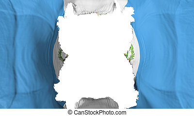Ripped Guatemala flying flag, over white background, 3d rendering