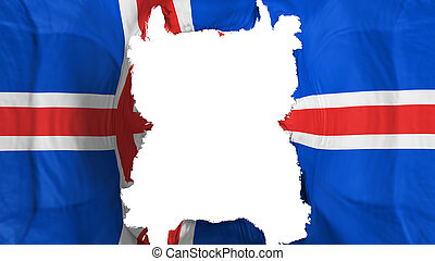 Ripped Iceland flying flag, over white background, 3d rendering