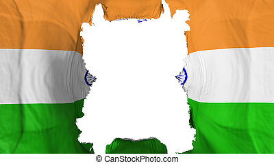 Ripped India flying flag, over white background, 3d rendering
