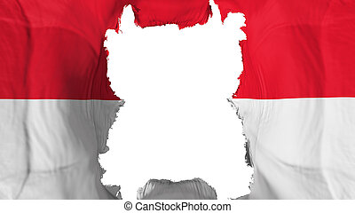 Ripped Indonesia flying flag, over white background, 3d rendering