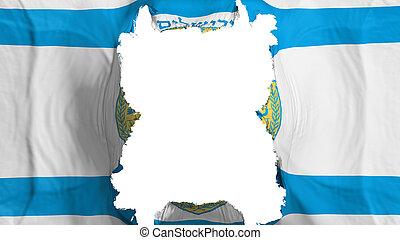 Ripped Jerusalem, capital of Israel flying flag, over white background, 3d rendering