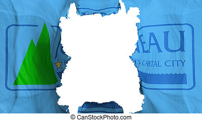 Ripped Juneau city capital flying flag - Ripped Juneau city...