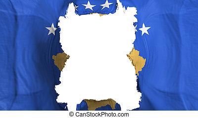 Ripped Kosovo flying flag, over white background, 3d rendering