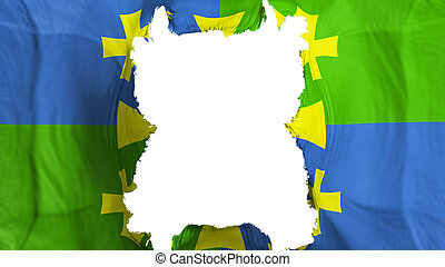 Ripped Kutaisi, capital of Georgia flying flag, over white background, 3d rendering