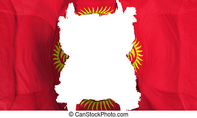 Ripped Kyrgyzstan flying flag, over white background, 3d rendering