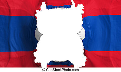 Ripped Laos flying flag, over white background, 3d rendering