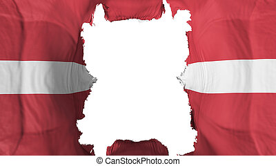 Ripped Latvia flying flag, over white background, 3d rendering