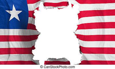 Ripped Liberia flying flag, over white background, 3d rendering