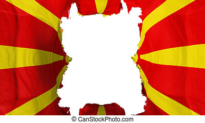 Ripped Macedonia flying flag, over white background, 3d rendering