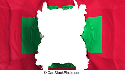 Ripped Maldives flying flag, over white background, 3d rendering