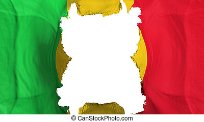 Ripped Mali flying flag, over white background, 3d rendering