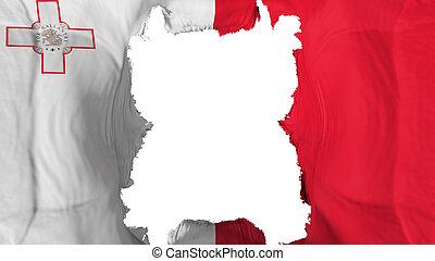 Ripped Malta flying flag, over white background, 3d rendering