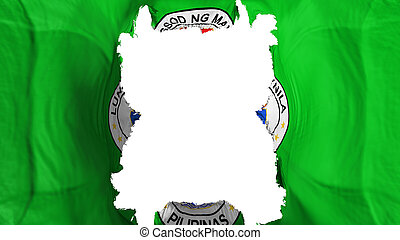 Ripped Manila, capital of Philippines flying flag, over white background, 3d rendering