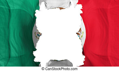 Ripped Mexico flying flag, over white background, 3d rendering
