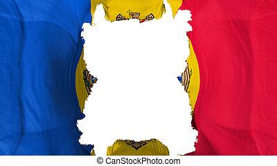 Ripped Moldova flying flag, over white background, 3d rendering
