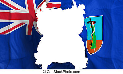 Ripped Montserrat flying flag, over white background, 3d rendering