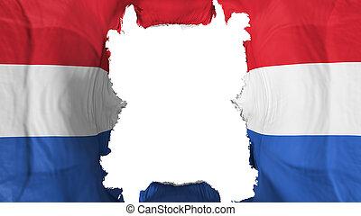Ripped Netherlands flying flag, over white background, 3d rendering