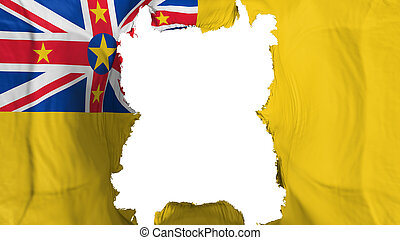 Ripped Niue flying flag, over white background, 3d rendering