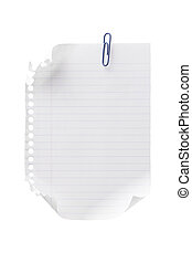 ripped notebook page with clip