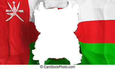 Ripped Oman flying flag, over white background, 3d rendering