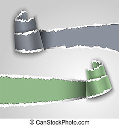 Ripped paper banners with space for text. Vector eps 10