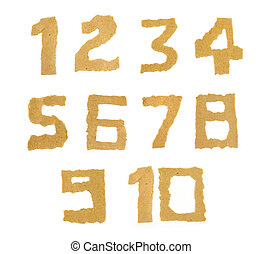 ripped paper number on white background