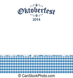 Ripped paper Oktoberfest background with text Oktoberfest...
