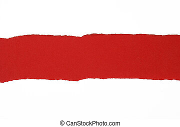 ripped paper, red space for copy