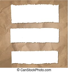 Ripped Paper Set With Cardboard Background