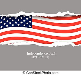 ripped paper USA flag. Independence