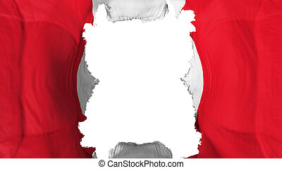 Ripped Peru flying flag, over white background, 3d rendering