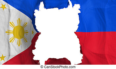 Ripped Philippines flying flag, over white background, 3d rendering