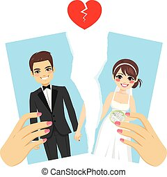 Ripped Photo Divorce Concept