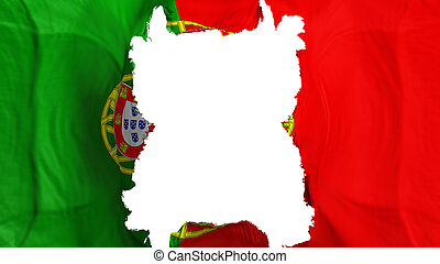 Ripped Portugal flying flag, over white background, 3d rendering
