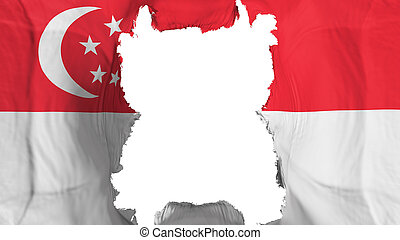 Ripped Singapore flying flag, over white background, 3d rendering