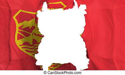 Ripped Skopje city flying flag - Ripped Skopje city, capital...