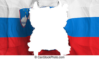 Ripped Slovenia flying flag, over white background, 3d rendering