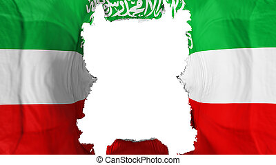 Ripped Somaliland flying flag, over white background, 3d rendering