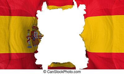 Ripped Spain flying flag, over white background, 3d rendering