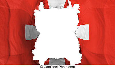 Ripped Switzerland flying flag, over white background, 3d rendering