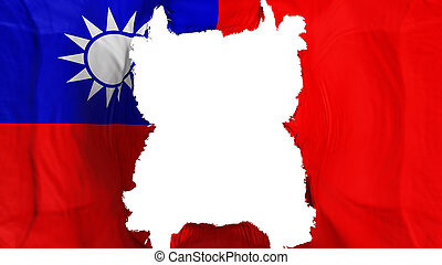 Ripped Taiwan flying flag, over white background, 3d rendering