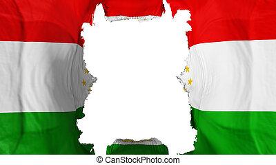 Ripped Tajikistan flying flag, over white background, 3d rendering