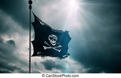 ripped tear grunge old fabric texture of the pirate skull flag waving in wind, calico jack pirate symbol at cloudy sky with sun rays light, dark mystery style, hacker and robber