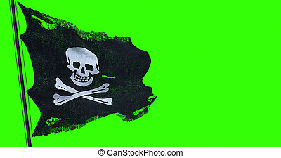 ripped tear grunge old fabric texture of the pirate skull flag waving in wind, calico jack pirate symbol at chroma key green screen background, dark mystery style, hacker and robber