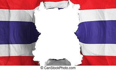 Ripped Thailand flying flag, over white background, 3d rendering