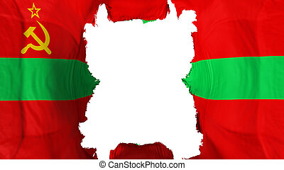 Ripped Transnistria flying flag, over white background, 3d rendering