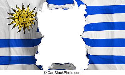 Ripped Uruguay flying flag, over white background, 3d rendering