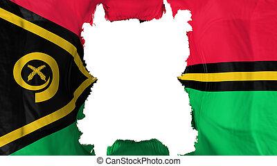Ripped Vanuatu flying flag, over white background, 3d rendering