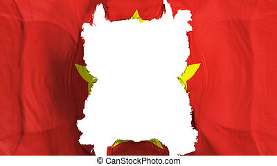 Ripped Vietnam flying flag, over white background, 3d rendering