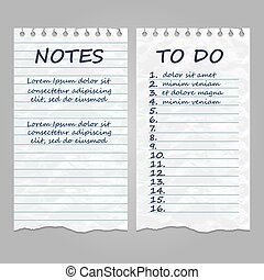 Ripped vintage paper pages for notes and to do list
